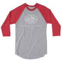 Classic Gritty's kettle logo with Portland location design 3/4 sleeve raglan shirt