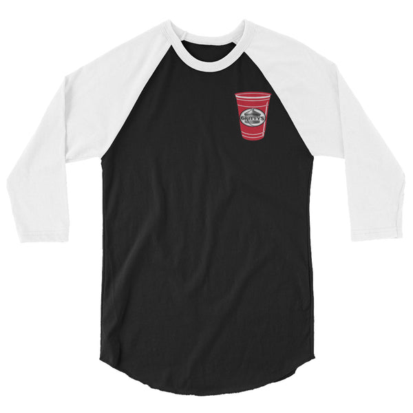 Gritty's and the red Solo cup design 3/4 sleeve raglan shirt