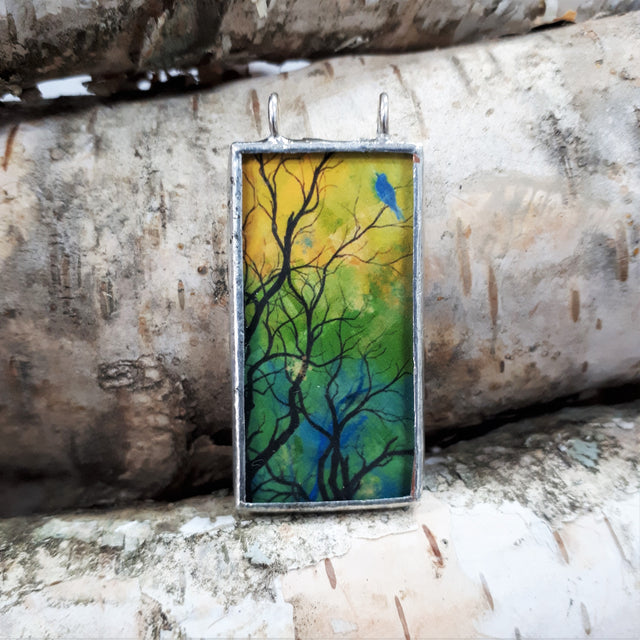 Framed Art Pendant - Blue Bird in Tree