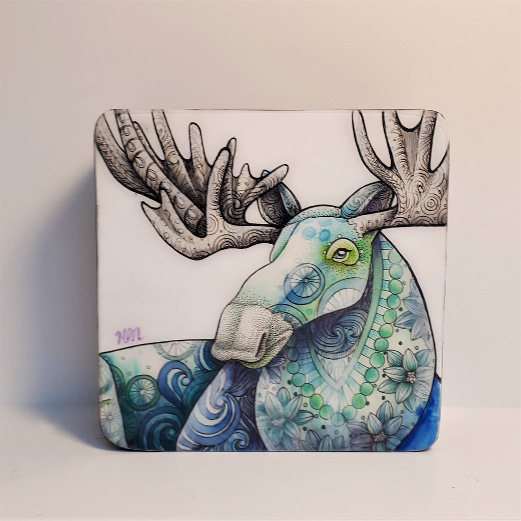 Original Ink, Pencil and Watercolour - BLUE MOOSE