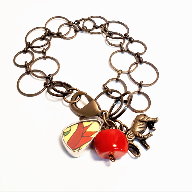 Framed Art Charm Bracelet - Red