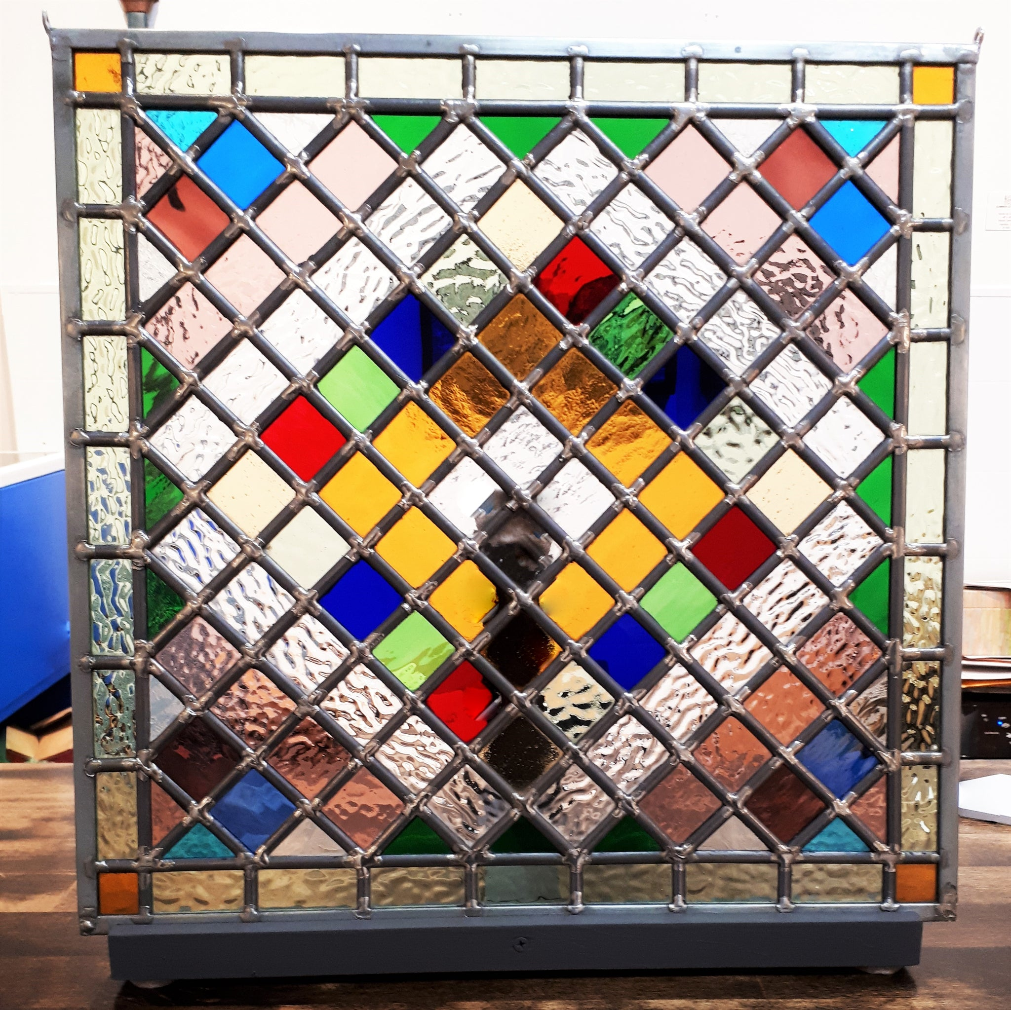 Contemporary Stained Glass - CHECKERBOARD