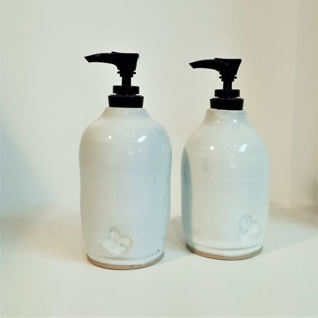 Pottery Soap Dispenser - White or Black