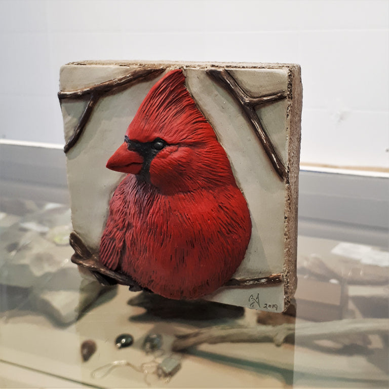 Limited Edition CARDINAL - Sculpted Cast Handpainted Hydrostone