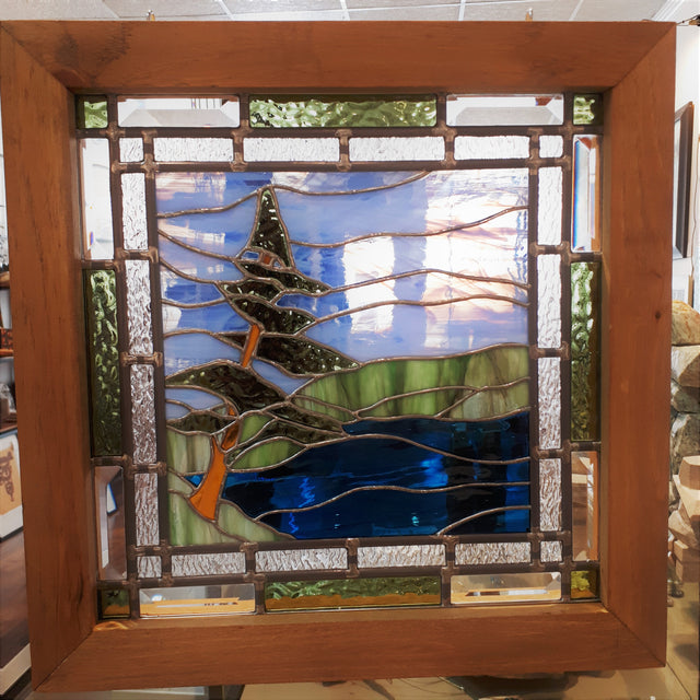 Stained Glass - Pine Tree at the Shore