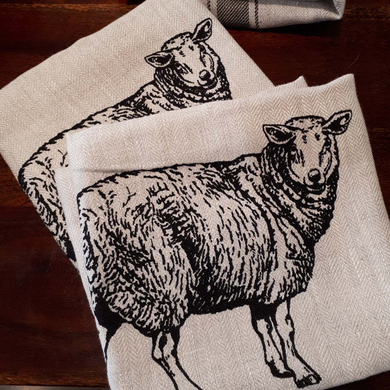 Wildlife Illustration Linen Tea Towel - Sheep