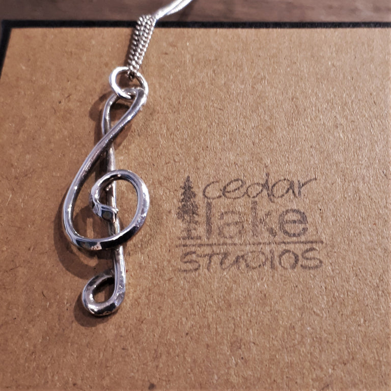 Treble Clef Sterling Silver Necklace