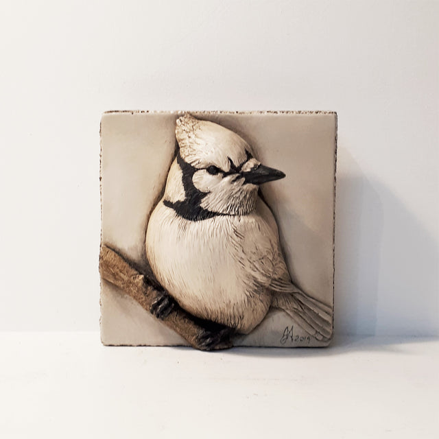 Limited Edition BLUE JAY (4x4) Black & White - Sculpted Cast Hydrostone