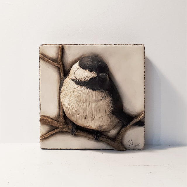 Limited Edition CHICKADEE (4x4) Black & White - Sculpted Cast Hydrostone