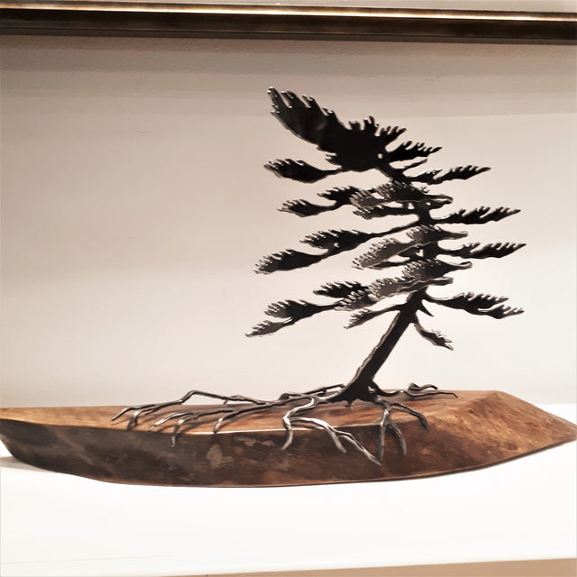 Cut-Steel Sculpture 400 - Tree on Walnut