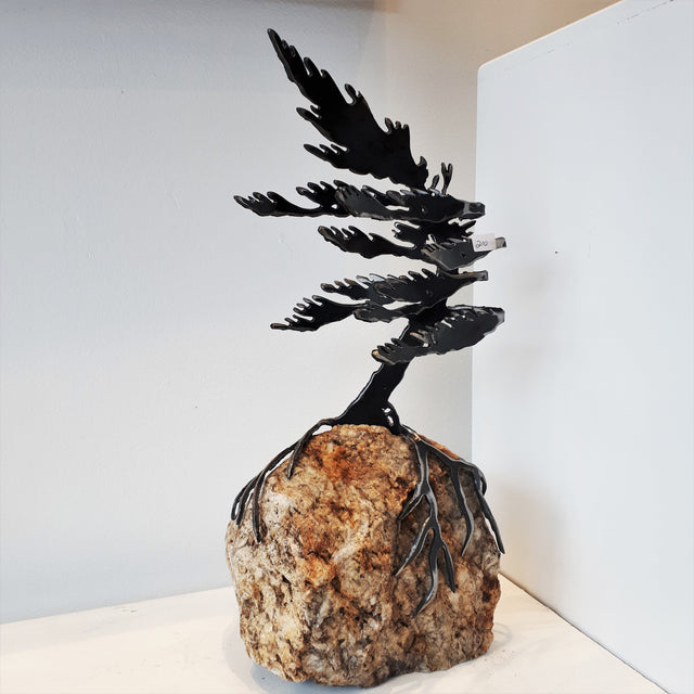 Cut-Steel Sculpture 210 - Tree on Granite