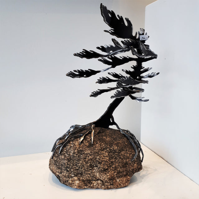 Cut-Steel Sculpture 200 - Tree on Granite