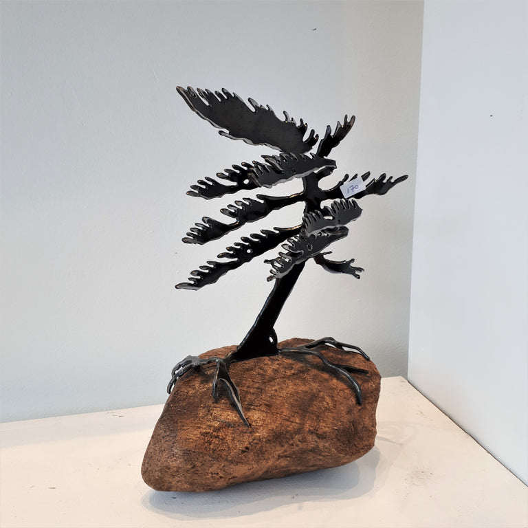 Cut-Steel Sculpture 170 - Tree on Granite