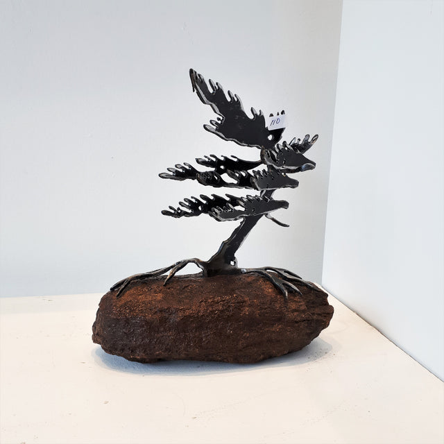Cut-Steel Sculpture 110 - Tree on Granite