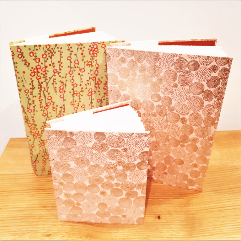 Pocket Sketch Book/Journal - Japanese Pink Paper with Gold Chrysanthemums