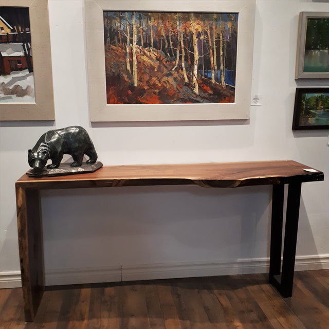 Walnut Waterfall and Iron Console