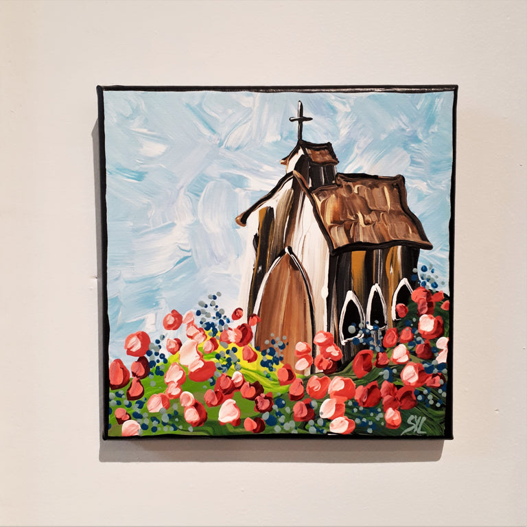 Original Acrylic Painting - COUNTRY CHURCH