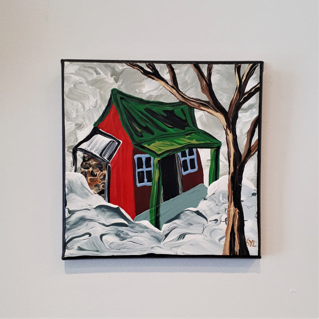 Original Acrylic Painting - THE RED CABIN