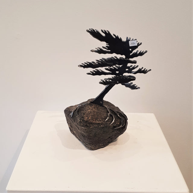 Cut-Steel Sculpture 130 - Tree on Granite