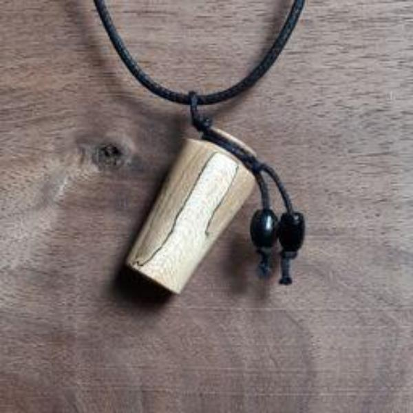 One-of-a-kind wood turned aromatherapy diffuser pendant