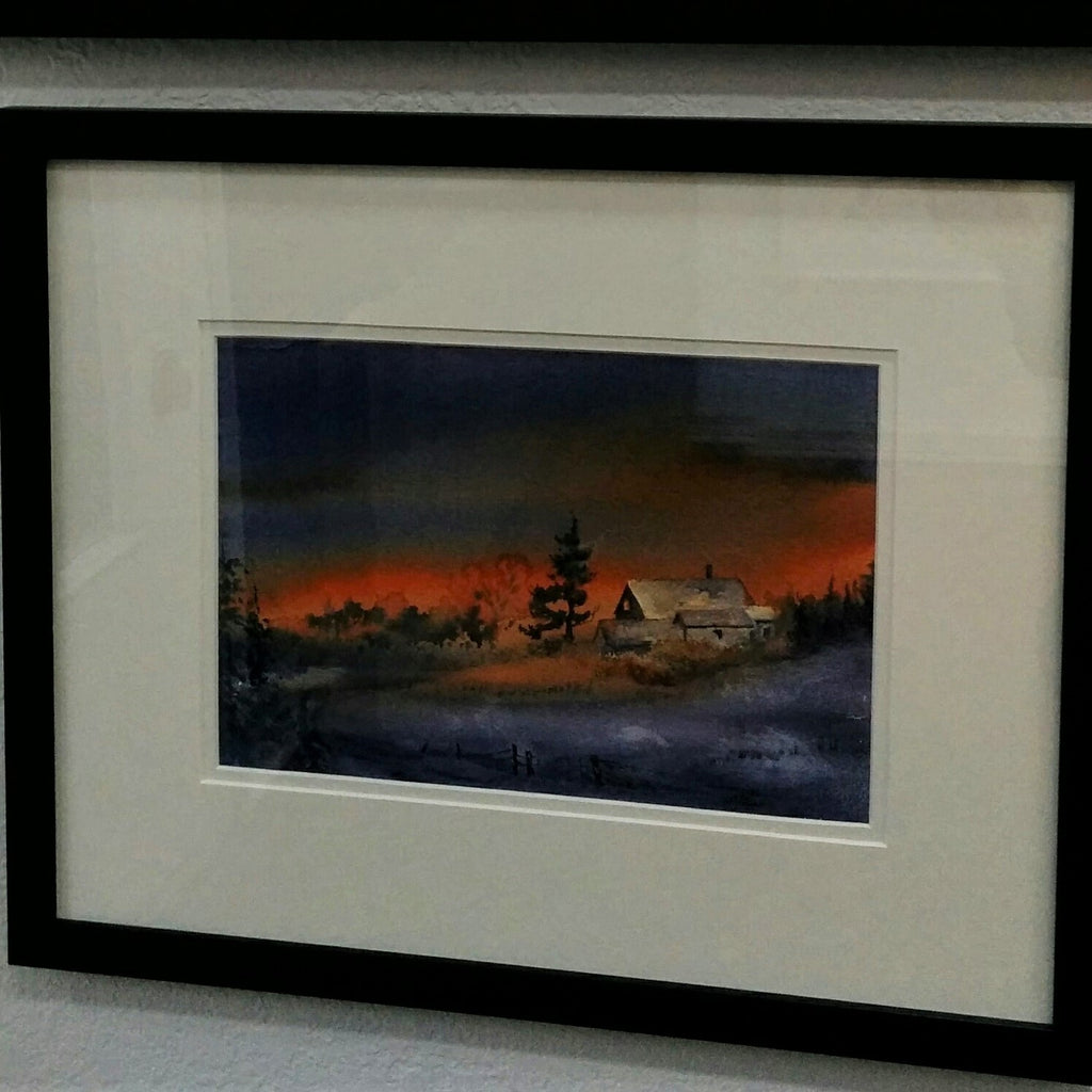 Framed Original Watercolour - WINTER SUNSET FARM