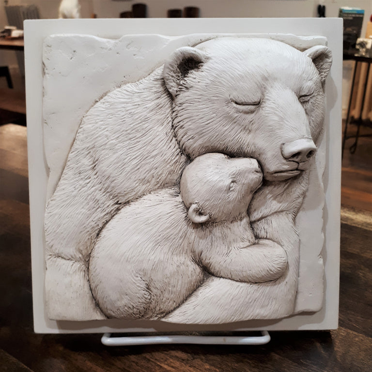 Sculpted Cast Hydrostone - Bear & Cub - Antique Finish