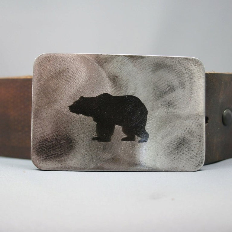 Etched Steel Belt Buckle with Bear image, handmade by Bayfield, Ontario artist