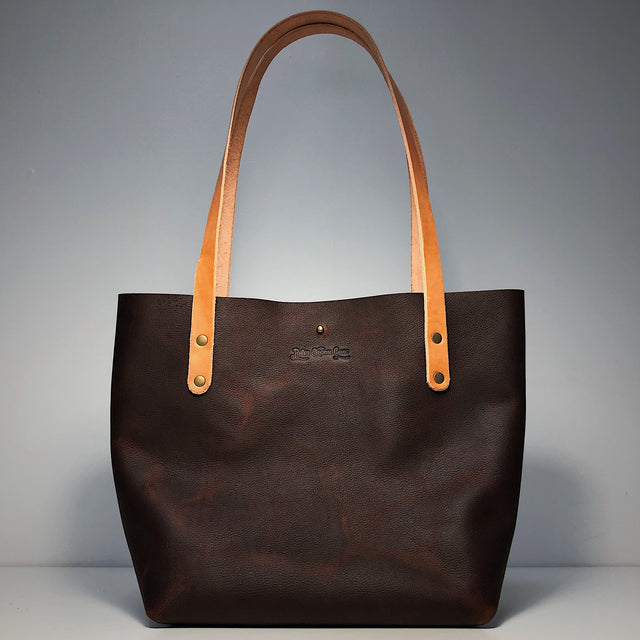 Big Bras D'or Handmade Leather Tote Bag - Brown or Navy Blue