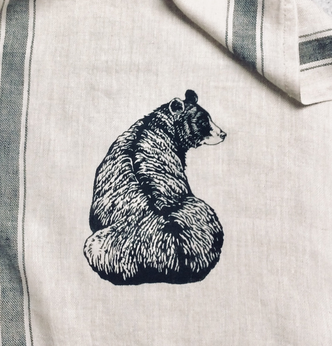 Wildlife Illustration Linen Tea Towel - Black Bear