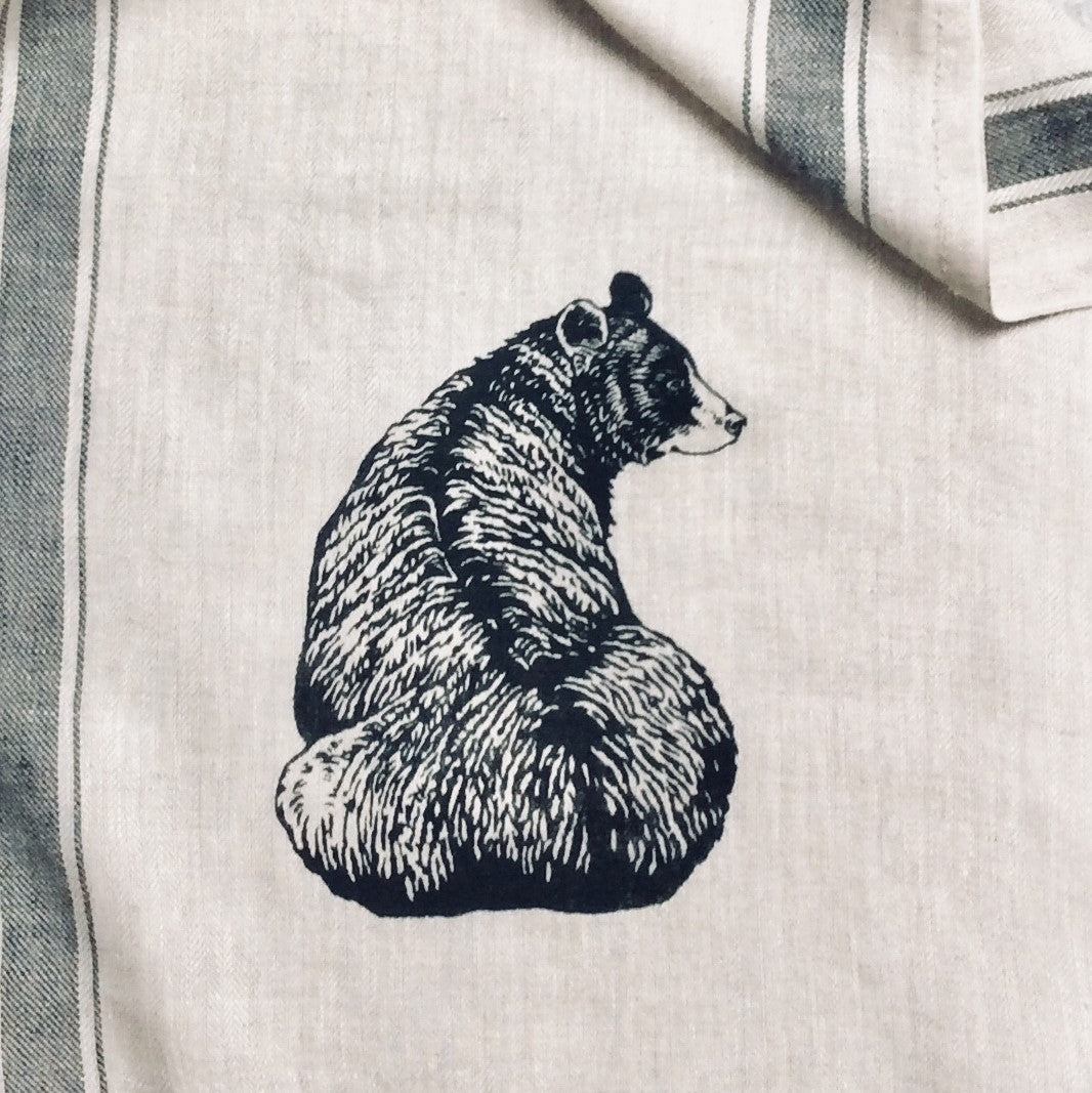 Black Bear Illustration on 100% Linen Tea Towel