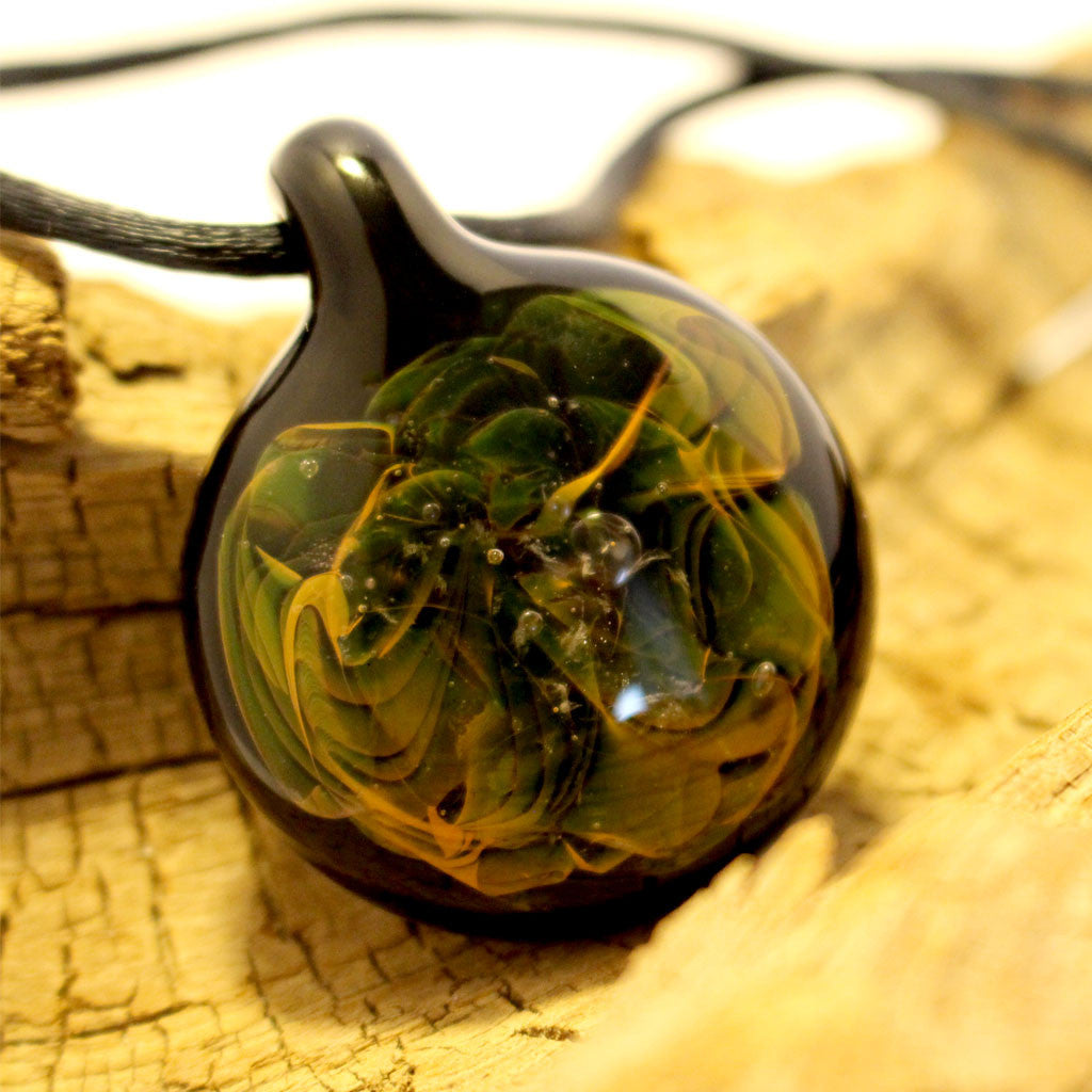 Glass Flame Pendant on Black Silk Cord - Captured Leaves