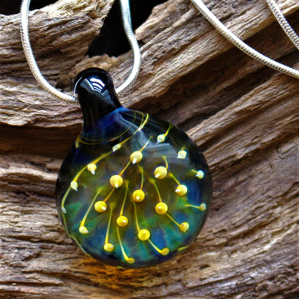 Flame-worked Implosion Glass Pendant on Sterling Silver Chain