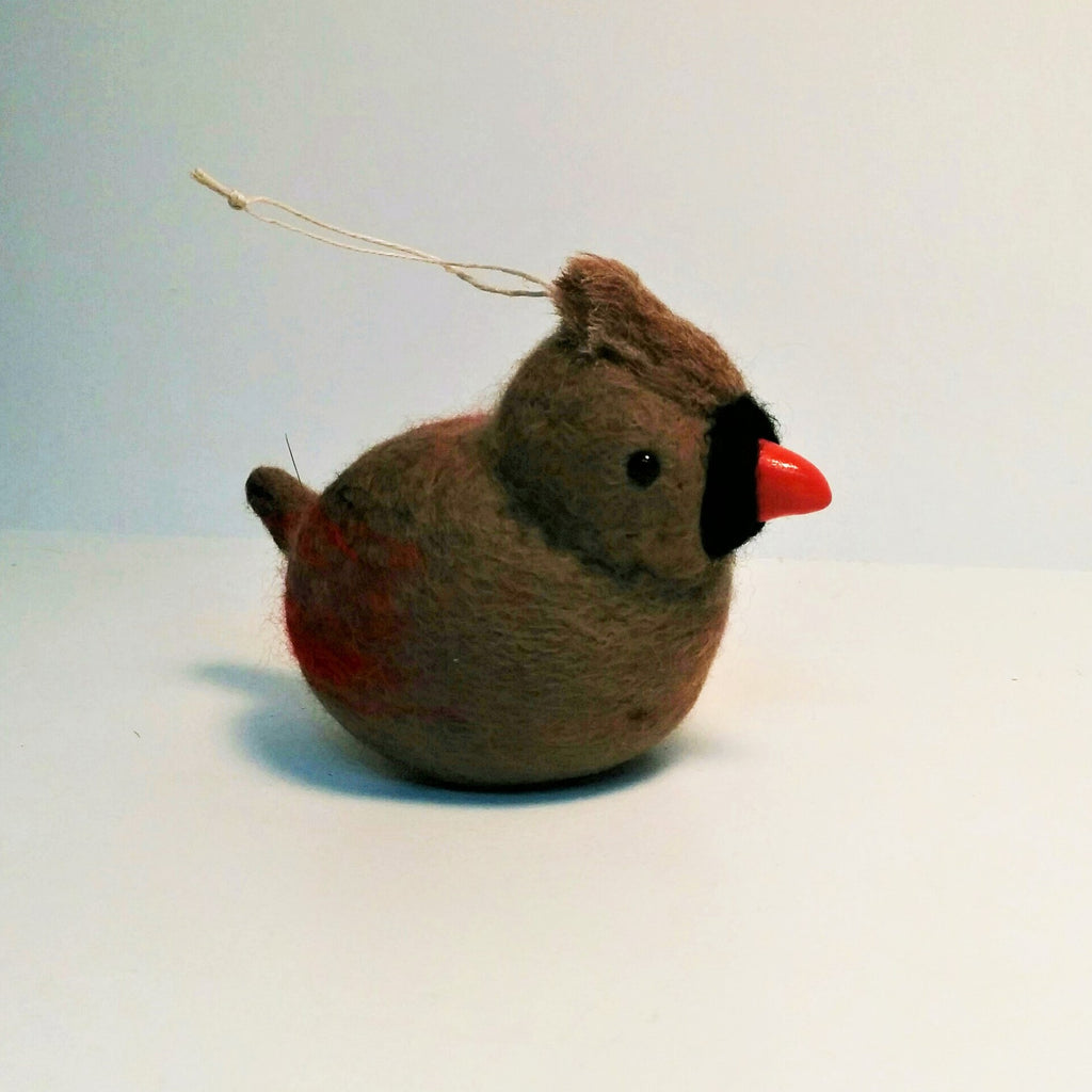 Wet felted wool sculpture of Female Cardinal by Canadian artist Lois McDonald-Layden