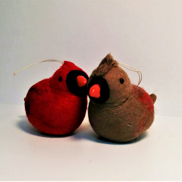 "Wool Sculpture - Female Cardinal (4"")"