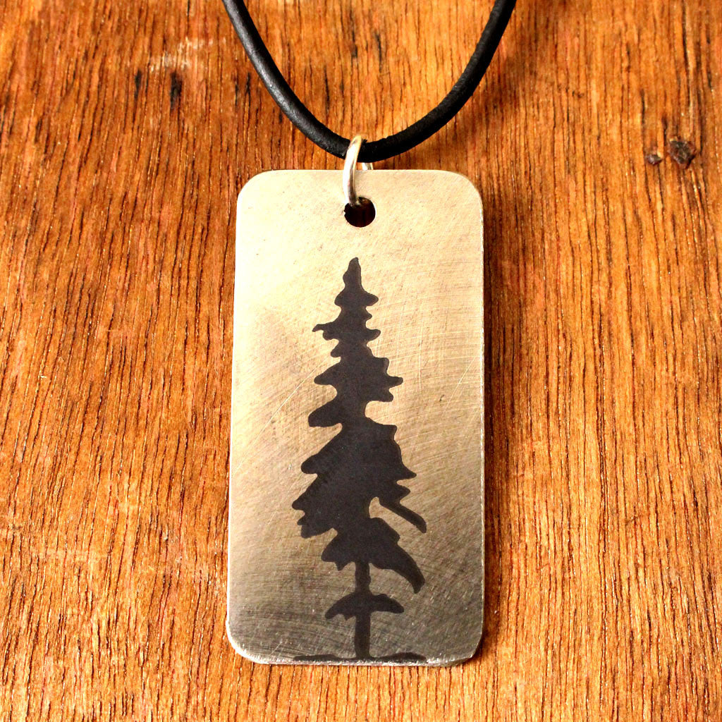 Etched Steel Pendant - Cedar Lake Tree
