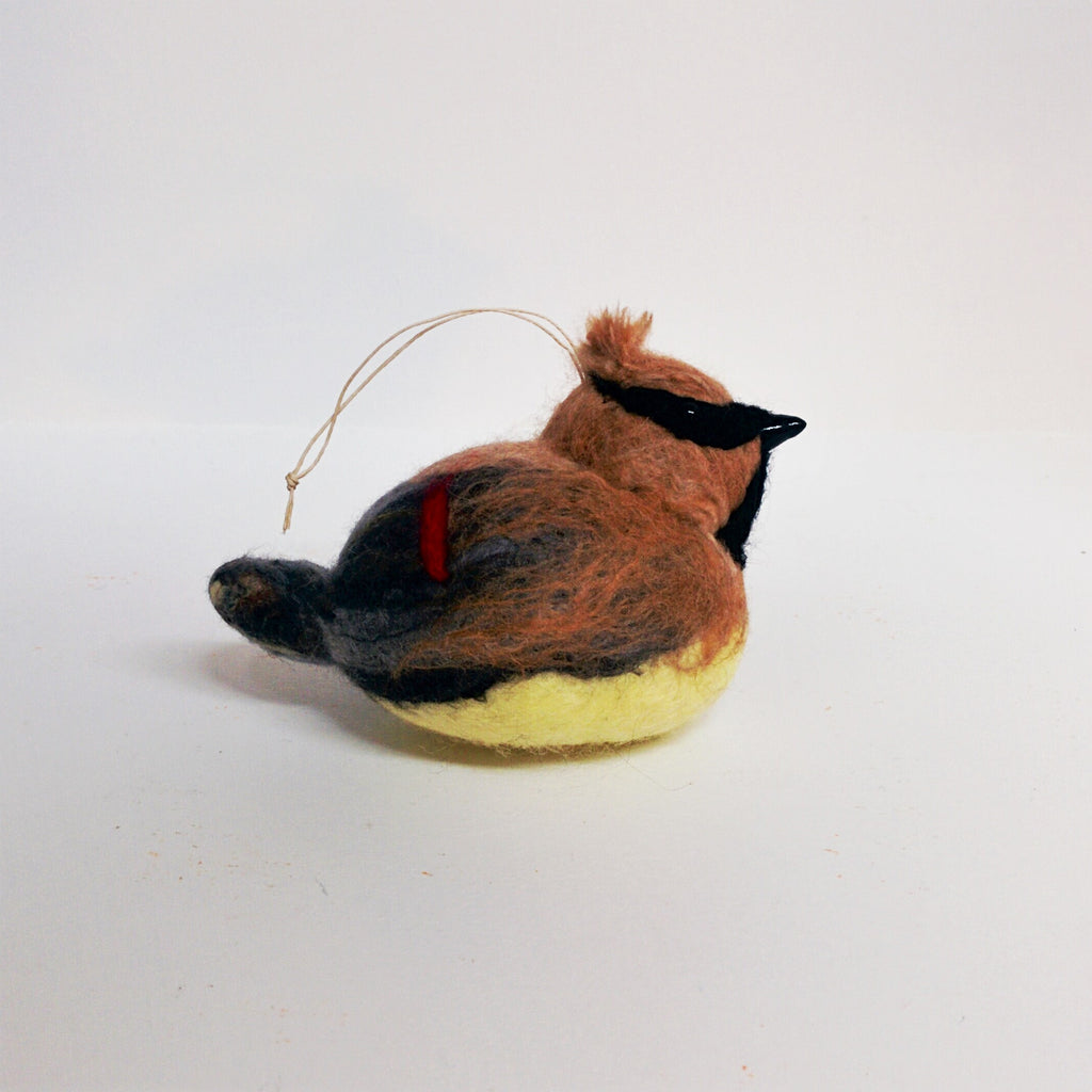 Wet felted wool sculpture of Cedar Waxwing by Canadian artist Lois McDonald-Layden
