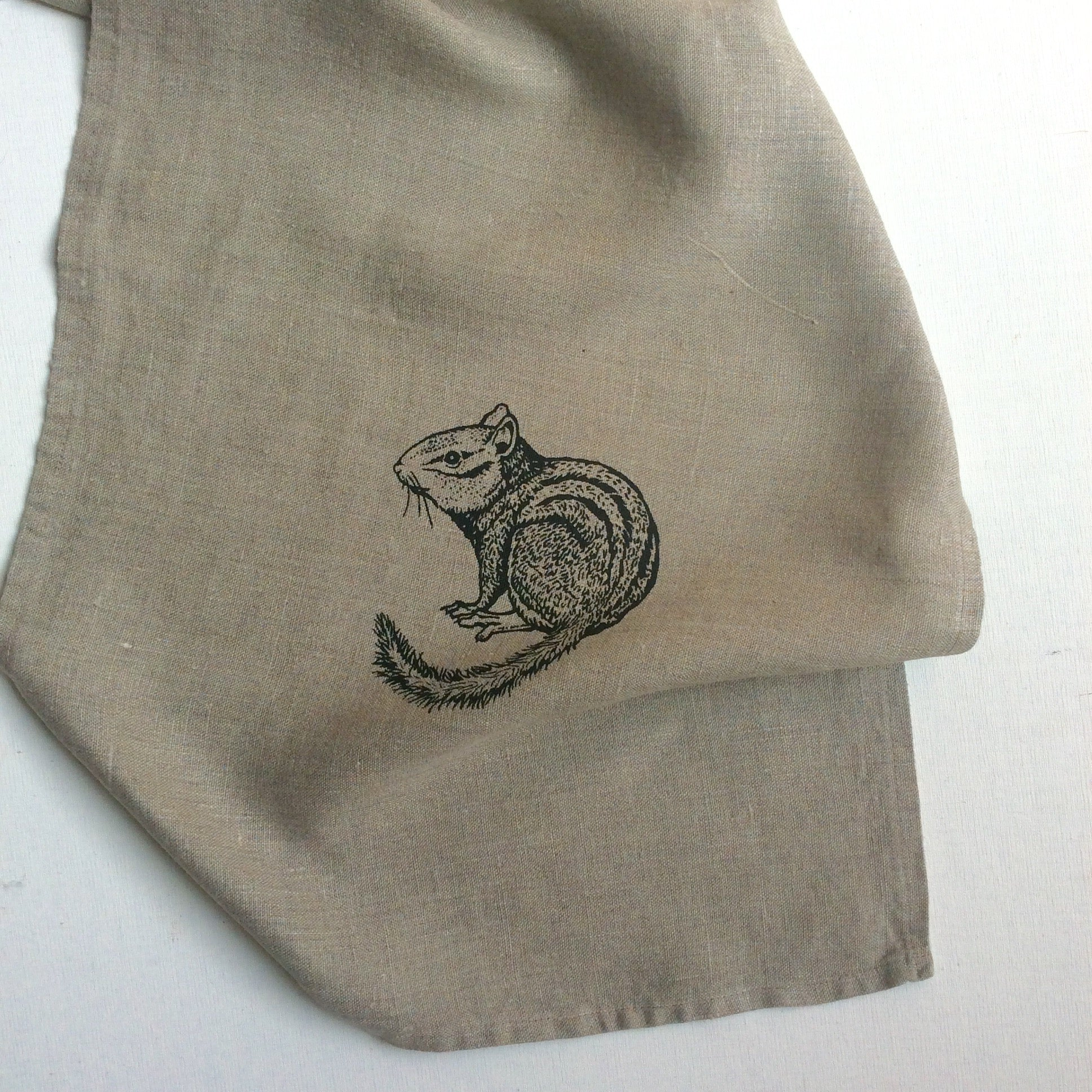 Wildlife Illustration Linen Tea Towel - Chipmunk