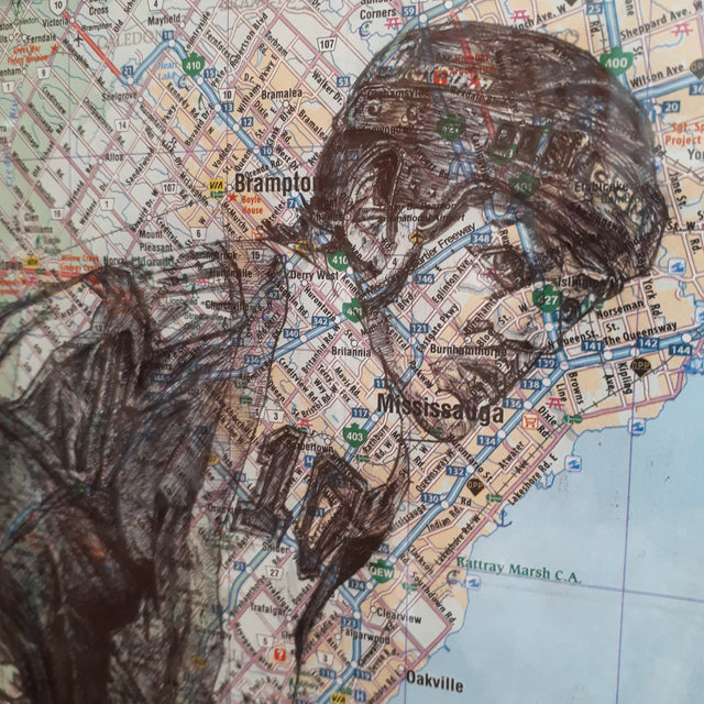 Original Pen and Ink Drawing on map - DALE HAWERCHUCK