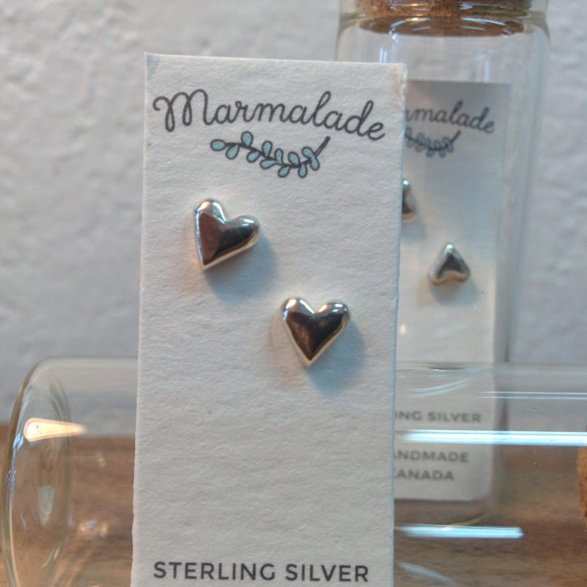 Sculpted Sterling Silver Earrings - Hearts