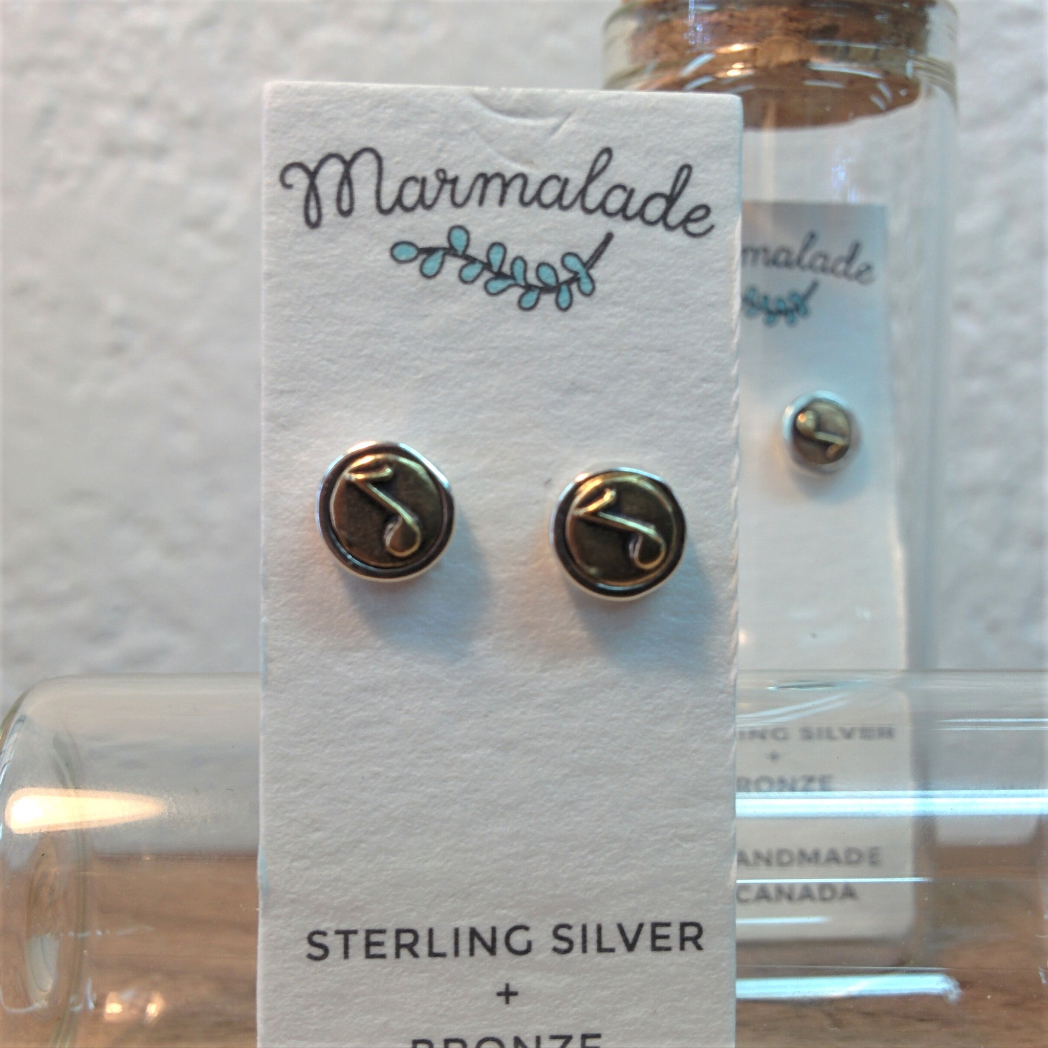 Sterling Silver and Bronze Earrings