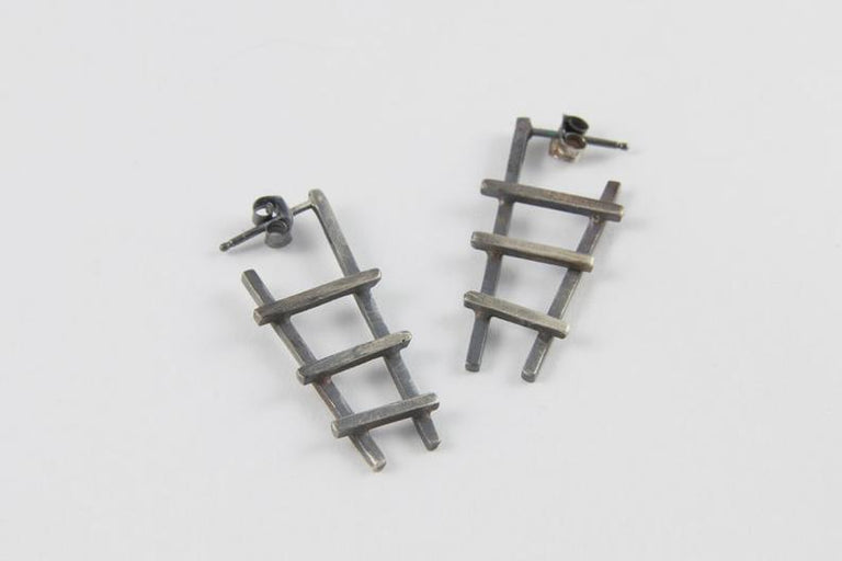 Earrings - Oxidized Silver Ladder