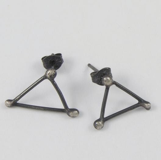 Earrings - Oxidized Silver Triangle Studs