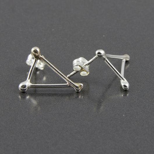 Earrings - Polished Sterling Silver Triangle Studs