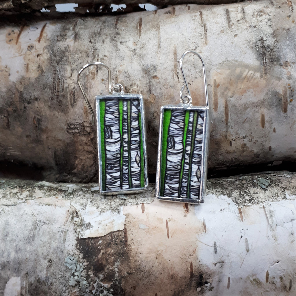 Framed Art Earrings - Birch Trees