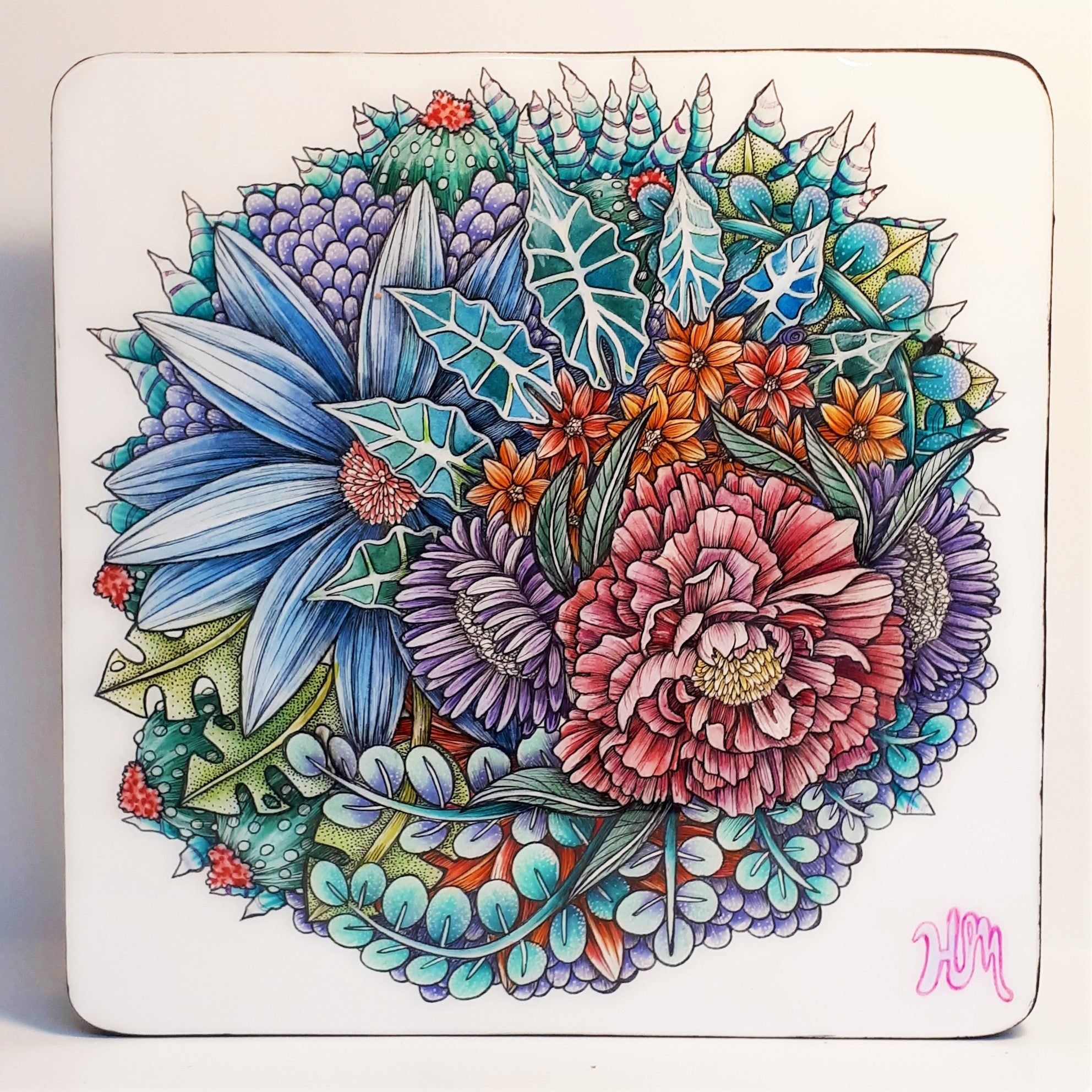 Original coloured pencil, ink and watercolour floral painting by Canadian Artist Hanna Mark
