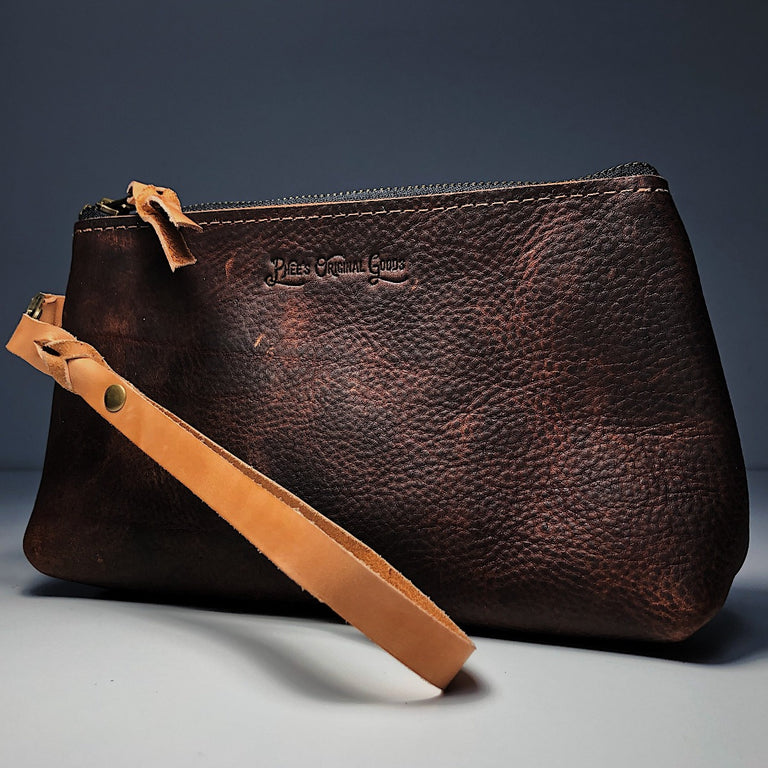 Estmere Leather Wrist Bag - Brown