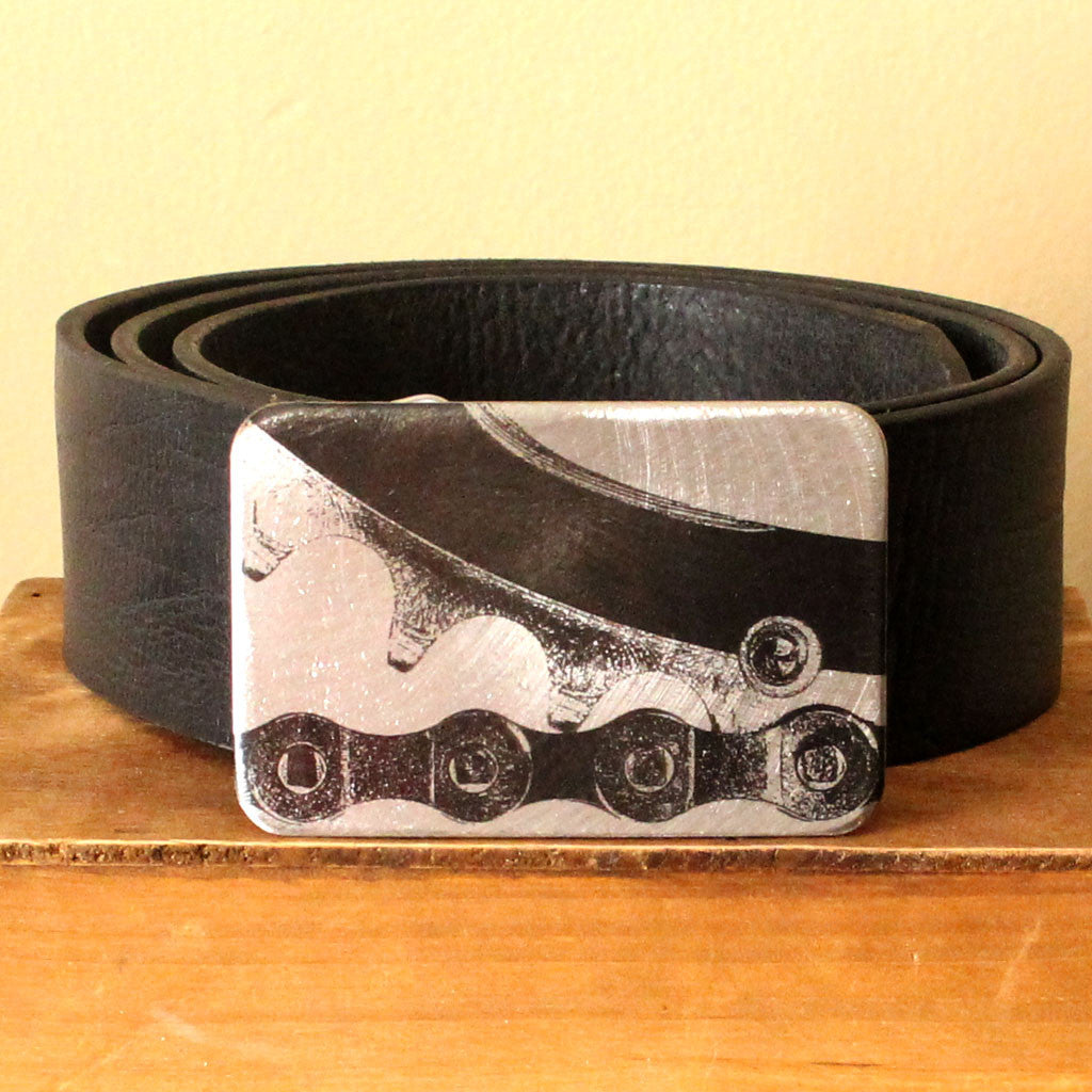 Etched Steel Belt Buckle - Bike Chain