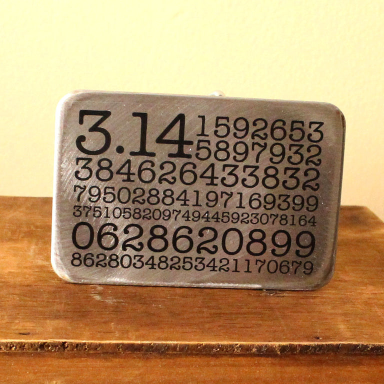 Etched Steel Belt Buckle - Pi