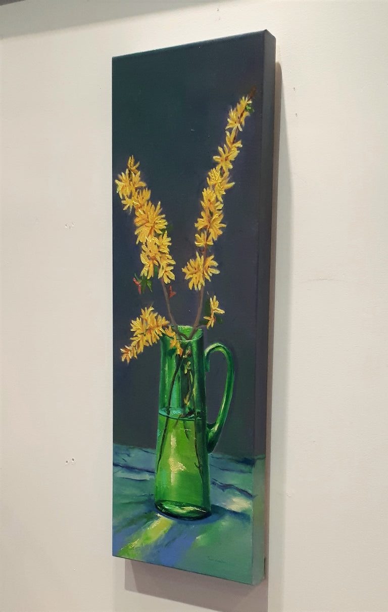 Original Oil Painting - FORSYTHIA IN GLASS