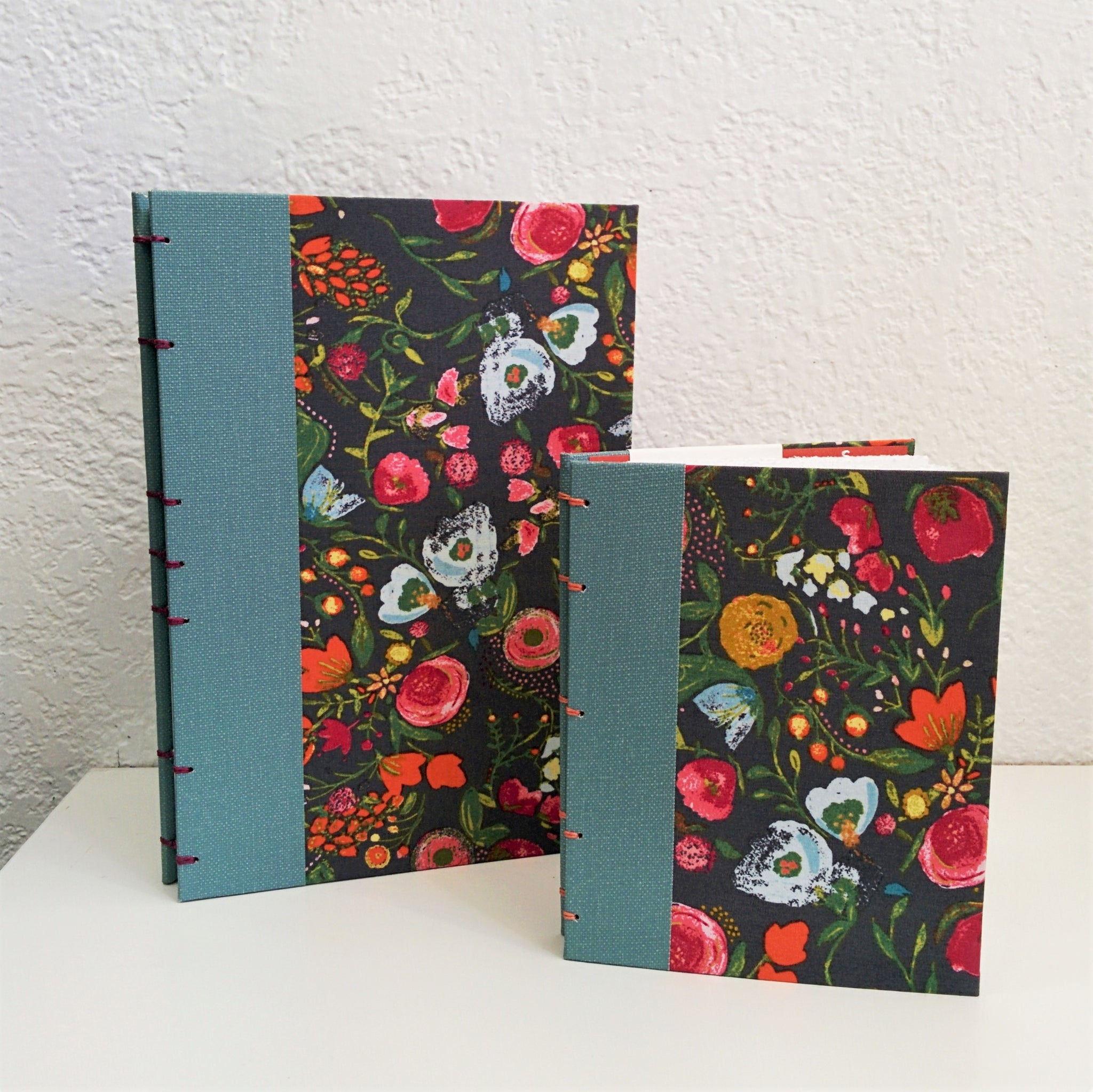 Pocket Sketch Book or Journal - Floral Fabric and Linen